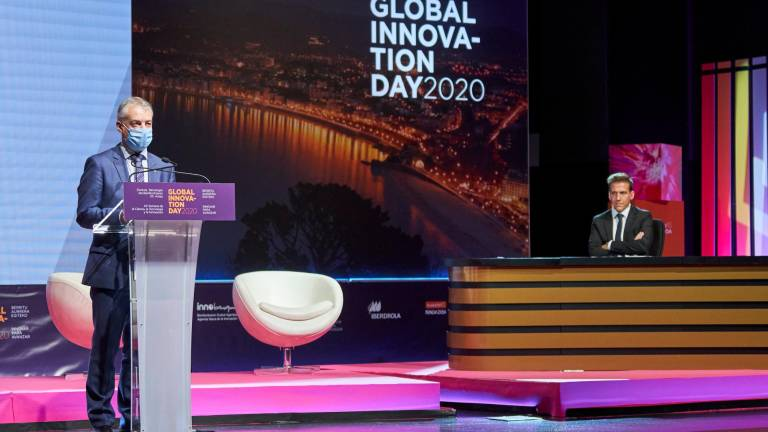 El lehendakari Iñigo Urkullu, en su intervención en el Global Innovation Day como presidente de honor de Innobasque. INNOBASQUE